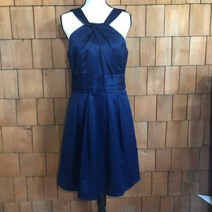 David's Bridal navy cocktail halter dress